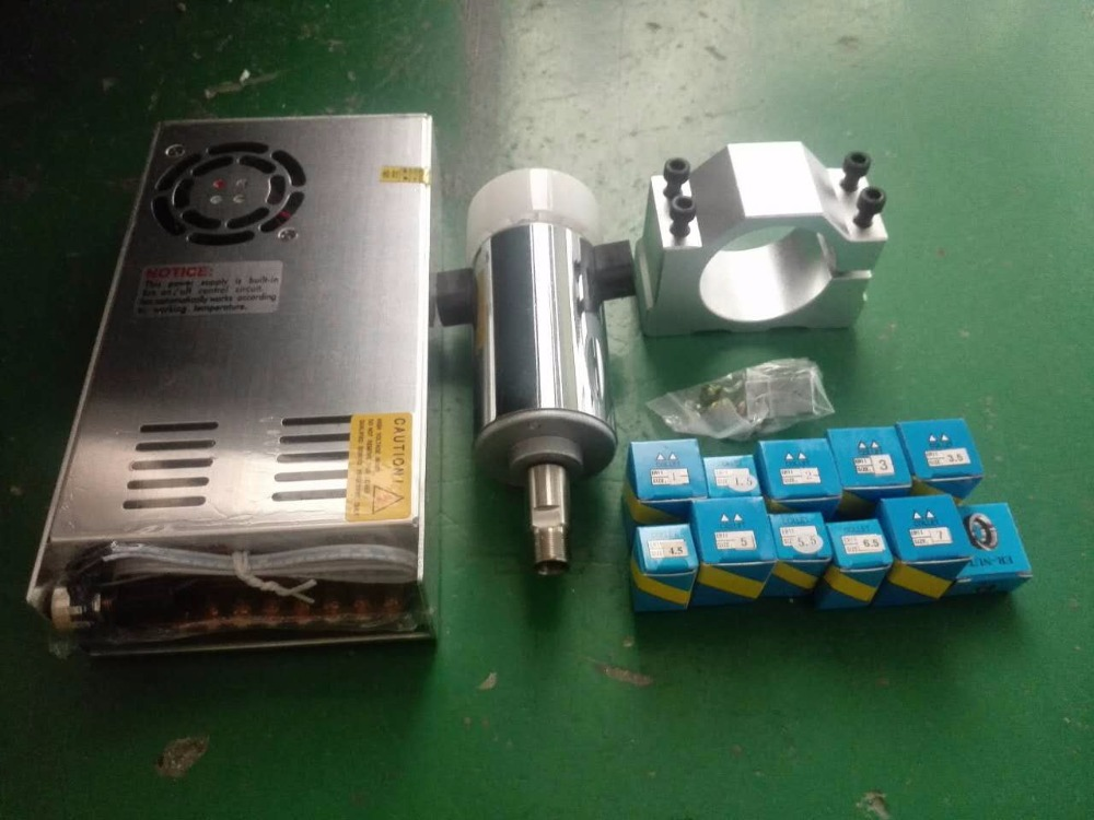 300W Air Cooling Spindle Motor Power Governor+Mount Bracket+12PCS Collets 9000R/Min DC48V 6A For CNC Carving Milling Machine free shipping 500w er11 collet 52mm diameter dc motor 0 100v cnc carving milling air cold spindle motor for pcb milling machine