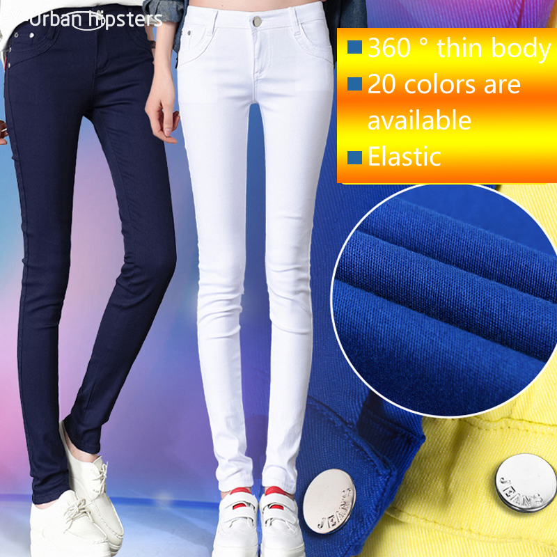 2018 Women Mid Waist Plus Size Candy Jeans Pencil Pants Slim Casual Female Stretch Trousers Blue Jean Pantalones Mujer
