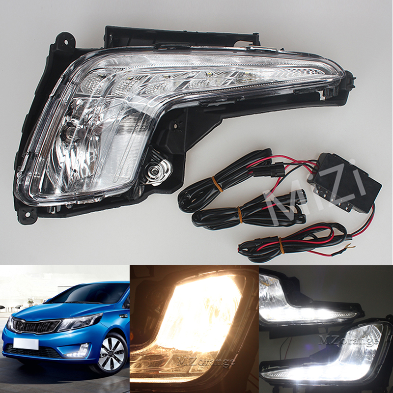 Newest LED Daytime Running Light For Kia Rio K2 2011 2012 2013 2014 2015 with Turn off Function & Fog Lamp High Quality автоинструменты new design autocom cdp 2014 2 3in1 led ds150