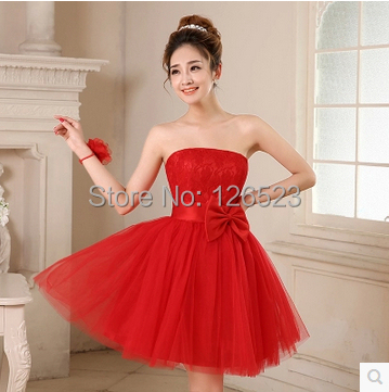Retail Bride Dress Evening 2015 New Fashion Short Design Bow Lace Ball Gown Prom Dresses Four Color Red Champagne - KC International Store store