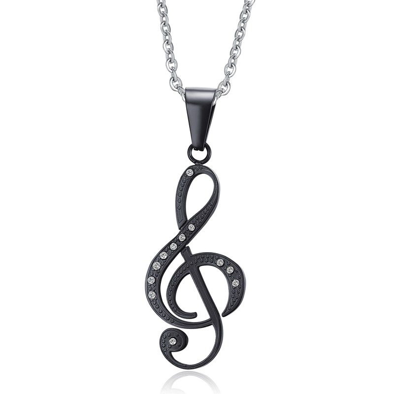 Music G Clef Symbol Stainless Steel Pendant Necklace