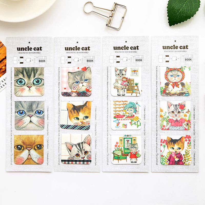 Купить с кэшбэком 24 set/Lot Uncle cat magnetic bookmark Mini page clip for book holder Kawaii School supplies marcador material escolar FC115