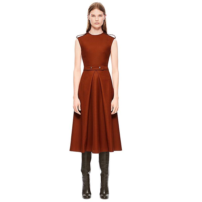 Victoria Beckham Runway Designer High Quality 2018 Autumn New Women'S Fashion Party Workplace Vintage Elegant Chic Vest Dress