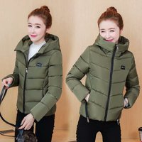 Slim Keep Warm Parka Women Casual Long Sleeve O Neck With Cap Hooded Solid Zipper Winter Woman Coat Short Jacket Winter Women