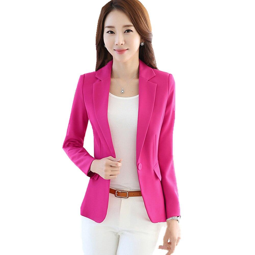 Fmasuth Women Blazer 2017 Full Sleeve Pockets S 4XL Plus Size Femme Casual Notched Blazer Jacket