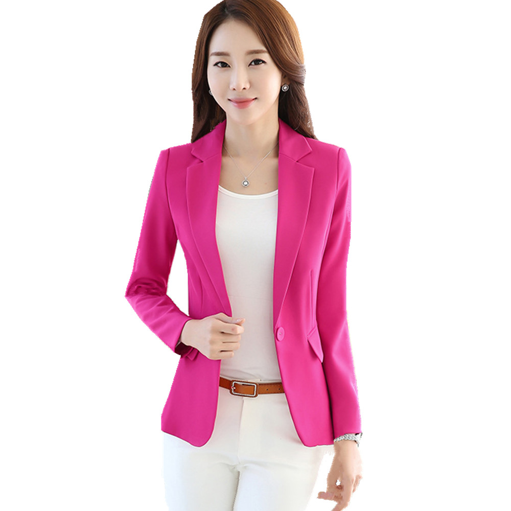 Fmasuth Women Blazer 2017 Full Sleeve Pockets S-4XL Plus Size Femme Casual Notched Blazer Jacket Outwear ow0297