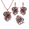 Feelgood Brand Jewellery Fashion Gold Plated Flower Jewelry Set With Crystal For Mother Gift