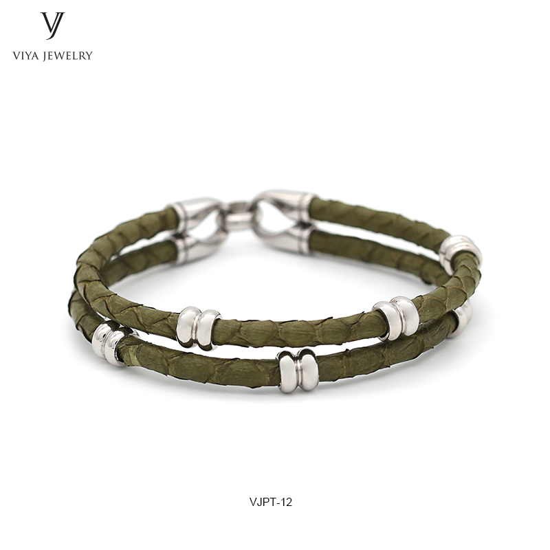 Cool Army Green Python Leather Cord & Stainless Steel Hardware Fashion Men Bracelet Jewelry Luxury Customize Men Python Bracelet opk biker stainless steel men bracelet