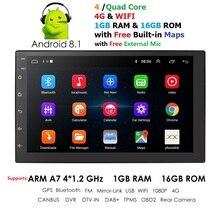 2 Din Android 8.1 Universal Car Audio Radio Stereo Con Il GPS WiFi Navigazione GPS Video Unità di Testa Auto Lettore Multimediale mic BT Mappa