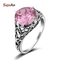 Szjinao Fancy 100% Silver 925 Pink Jewelry Crystal Women Punk Ring Female Silver Ring Vintage Tibet Jewelry Bachelorette Party