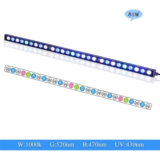 81W LED aquarium light strip waterproof IP65 professional spectrum for reef coral Marine life fish tank lighting bar US/DE stock