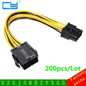 200pcs/Lot PCI-E 8 Pins Male to 8 Pins Female PCI Molex IDE Express Power Extension Cable Adapter For Video Card