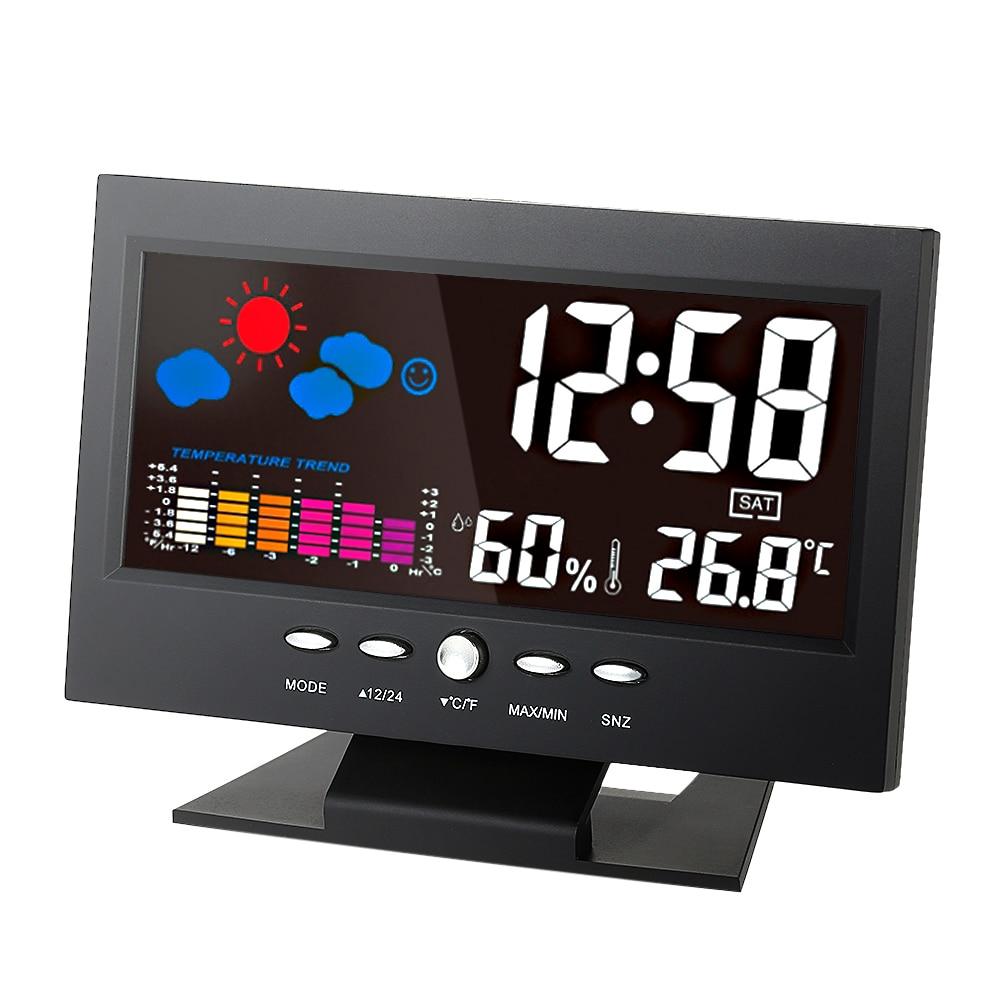 Digitale wetterstation Thermometer Hygrometer uhr mit LCD-display umschaltbar Mess temperatur luftfeuchtigkeit