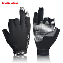 цены Boodun Breathable Half 3 Fingers Antislip Fishing Gloves Sun Protection Boating Glove Rowing Gloves Sailing Fishing Equipment