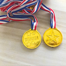 Champion Plastic Children Gold Winners Medals Kids Game Sports Toy Prize Awards Interactive Theme Party Gift Toys For Children(China)