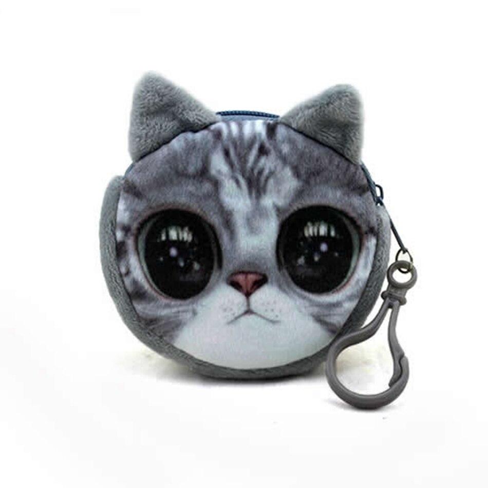 11 Stil Mini 3d Katze Plüsch Geldbörse Tiere Print Zipper Geldbörsen Harajuku Kind Tasche Frauen Mädchen Billeteras Nette Monedero Gato