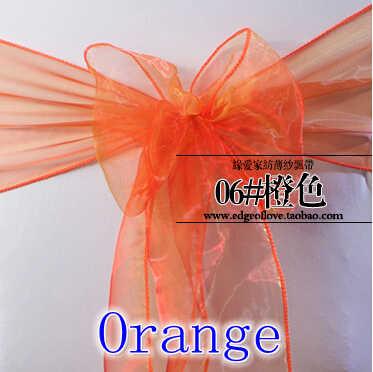 Оранжевый цвет органза пояс для стула Хрустальный пояс Свадебная вечеринка в отеле шоу украшение мерцающий Блестящий бант на стул лента