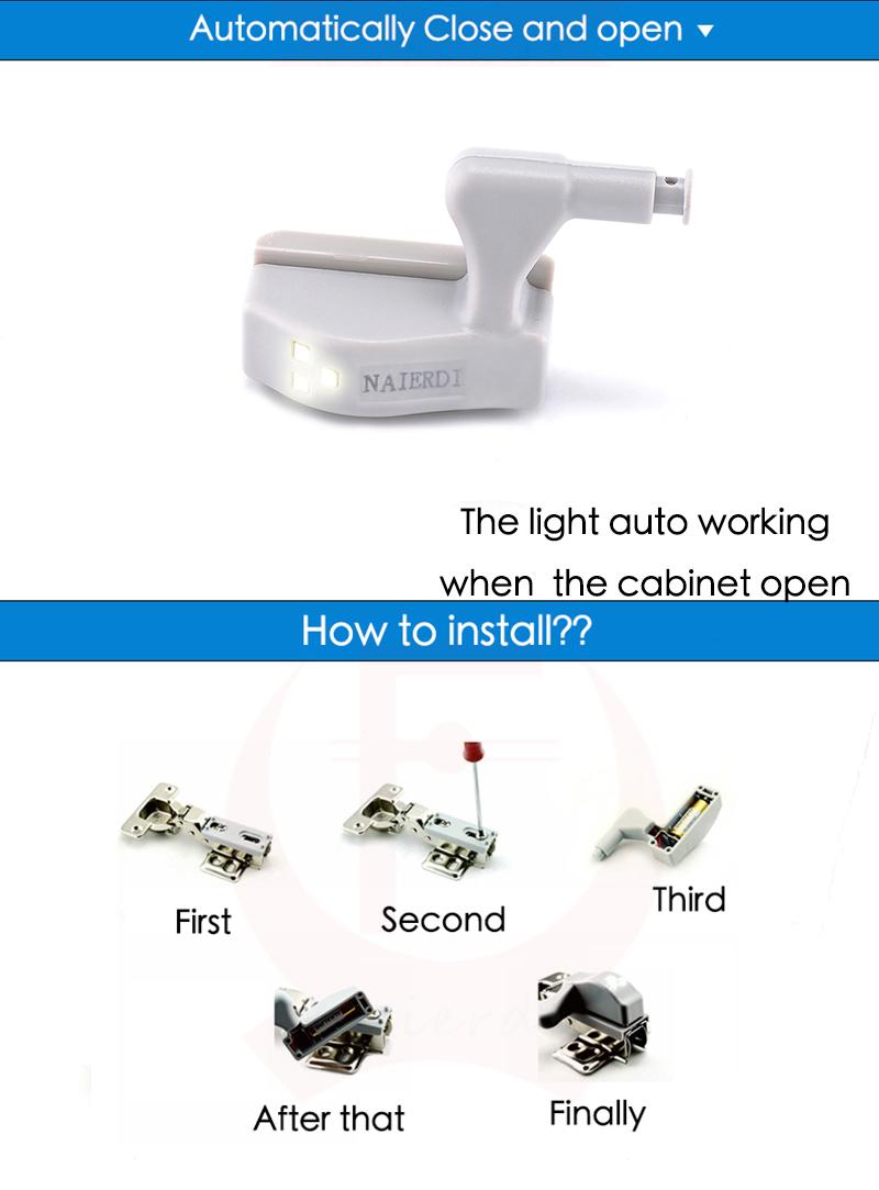 Бренд naierdi универсальный кухня спальня гостиная кабинет шкаф шкаф шкаф 0,25 вт внутреннего шарнира светодиодный датчик света разбрасывание