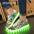 Spansee LED Shoes with Light Up Shoes Luminous Glowing Sneakers with Light Soles Basket Led Slippers Kids Boys USB Trainers