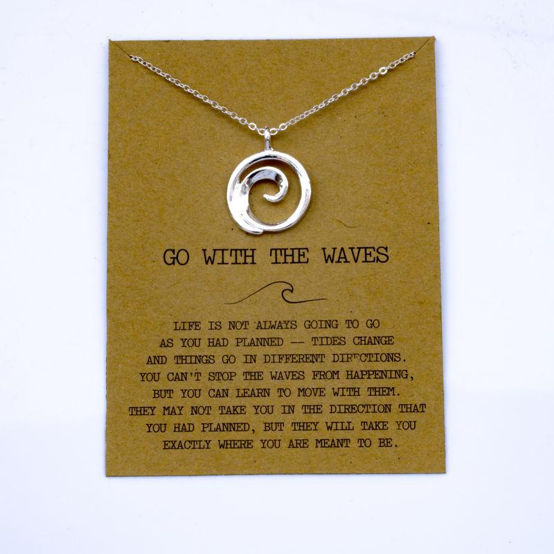 """SanLan 1 шт идут в комплекте ожерелье с подвеской """"волны"""" Океан ювелирные изделия - Окраска металла: 21"""