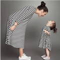 2016 New Spring Mom And Daughter Dress Family Matching Outfits Clothing Black White Striped Cotton a Brand Superstar Look