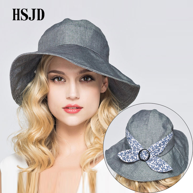 Women Spring Summer Large Wide Brim Foldable Cloth Sun Hat 2018 New Lady s  Anti-UV Beach Hats Outdoor Bowknot Travel Hat Female f7b095ab334c