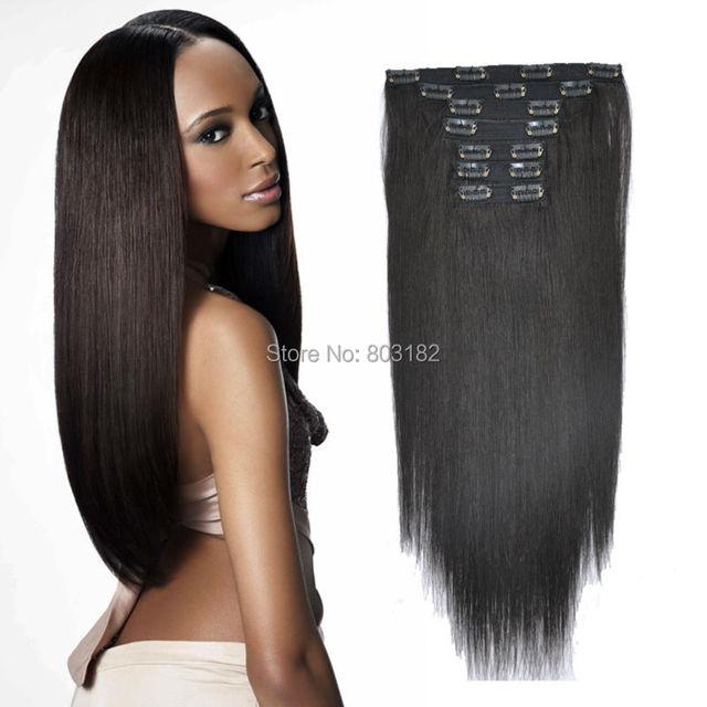 Yotchoi Productos de Pelo Remy Clip En Juegos 7 Unids 1B # color Natural 70 pelo Brasileño recto humano 100% g/set extensiones de cabello