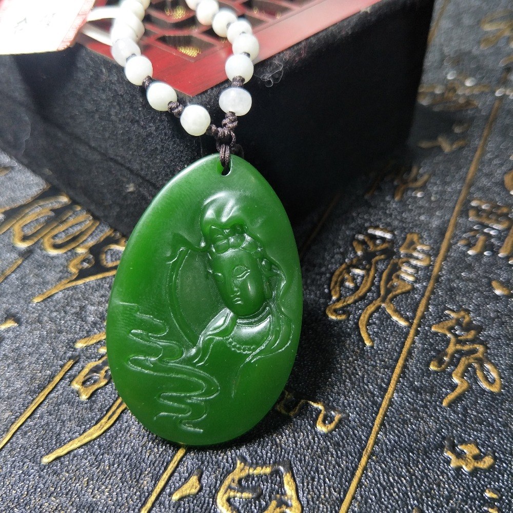 Send A-level National Certificate Natural Hetian Jade Jade Twin Fish Pendant Emerald Rice Beads Black Rope Pendant Chain Fine Jewelry Jewelry & Accessories