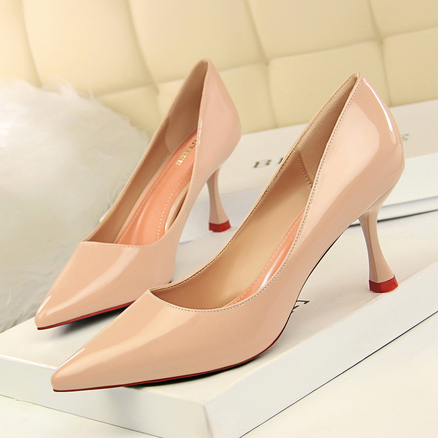 Bigtree Shoes Women Pumps Spring High Heels Women Shoes Patent Leather Wedding Shoes Pointed Toeladies Shoes Women Kitten Heels