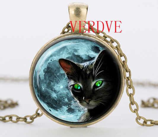כחול ירח שחור חתול זכוכית שרשרת לנשים כסף שרשרת קיץ סגנון צוואר תחרה ירוק עין חתול זכוכית תליוני תכשיטים תכשיטים מלאכותיים