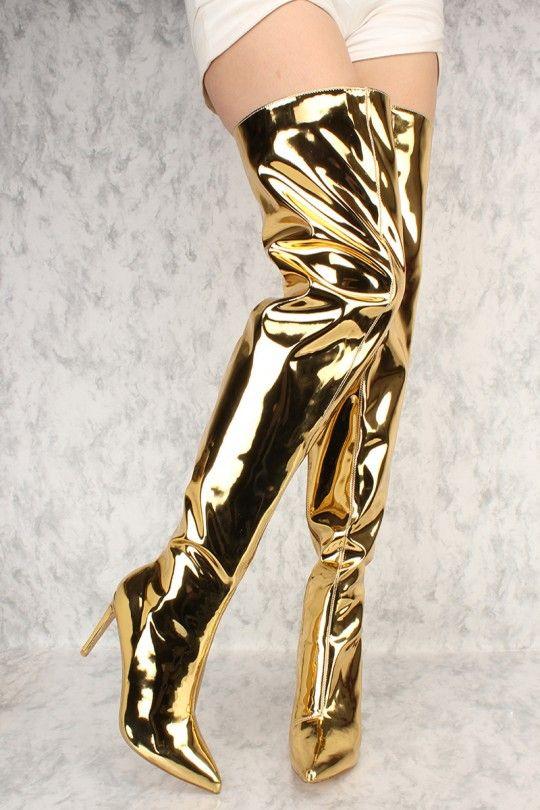 gold customized Tacchi Verniciata Shiny Picture black Donne Sexy As Vestito Di Nude Sopra Picture Spillo Il A Picture Punta Oro Pelle Neri Ginocchio Color Lunghi Pompe Stivali 4g08qA
