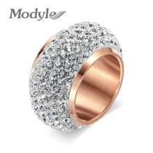 Modyle New Fashion Rose Gold-Color Zircon Crystal Stainless Steel Rings for Women Men Wedding Jewelry Beauty anillos Female(China)