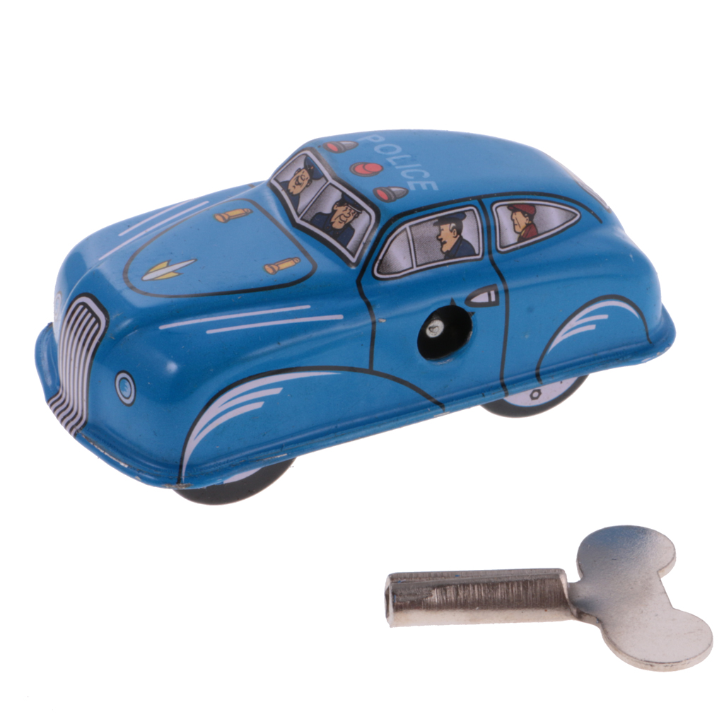 MagiDeal High Quality Vintage Police Blue Car Model Wind-up Clockwork Kids Tin Toy For Adult Children Classic Collectible Gift