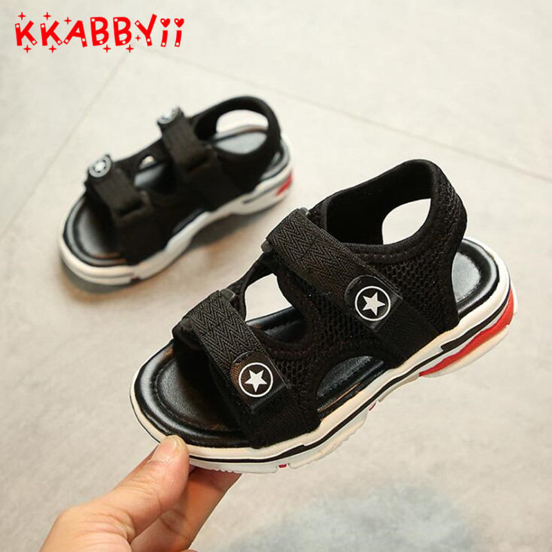 New Children Sandals Summer Shoes Kids Sandals Boys Girls Hook & Loop Beach Shoes Baby Student Sandals Flat open toe