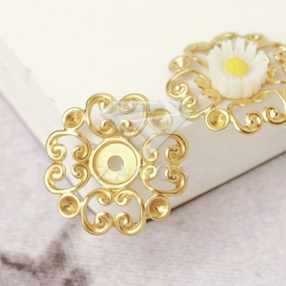20Pcs Brass Filigree Fower Links DIY Cameo Cabochon Flatback Settings MB0546