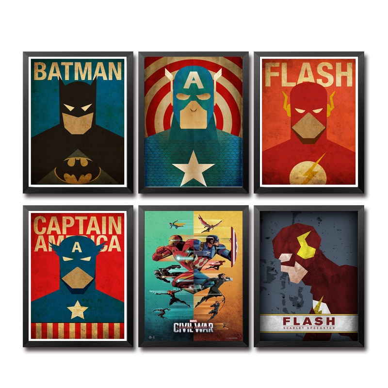 Comics Marvel Avengers Super Heroes Movie Poster Art Canvas Print Home Children's Bedroom the Wall Picture Decorator image