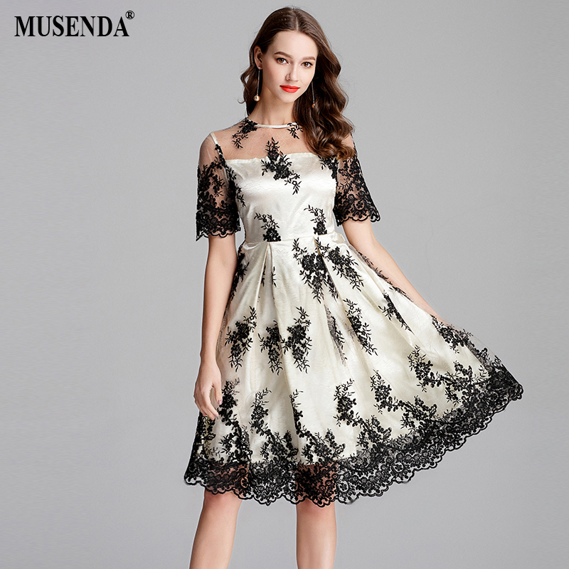 MUSENDA Plus Size Women Apricot Mesh Lace Embroidery Tunic Dress New 2018 Summer Sundress Ladies Vintage Sexy Party Slim Dresses