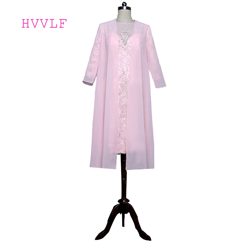 Mother Of The Bride Dresses Sheath Knee Length Pink With Jacket Beaded Lace Evening Dresses Mother Dresses For Weddings