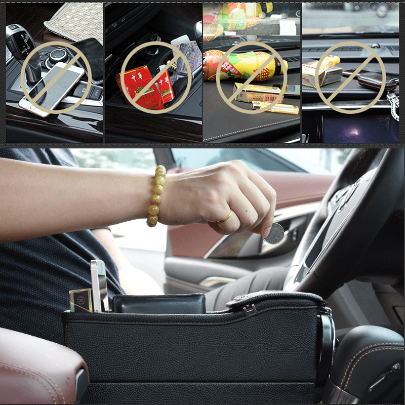 Image 3 - Storage Box Car Organizer Seat Gap PU Case Pocket Car Seat Side Slit for Wallet Phone Coins Cigarette Keys Cards For Universal-in Stowing Tidying from Automobiles & Motorcycles