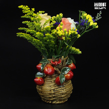 Shiwan doll peach ceramic vase belly style modern handmade flower statue dining room decoration decoration