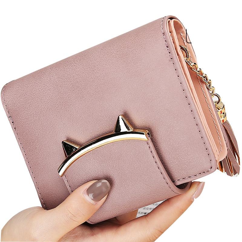 Cute Cat Anime Leather Short Slim Mini Tassel Designer Pink Wallet Women Small Clutch Female Purse Coin Card Holder Dollar Bag shoulder bag