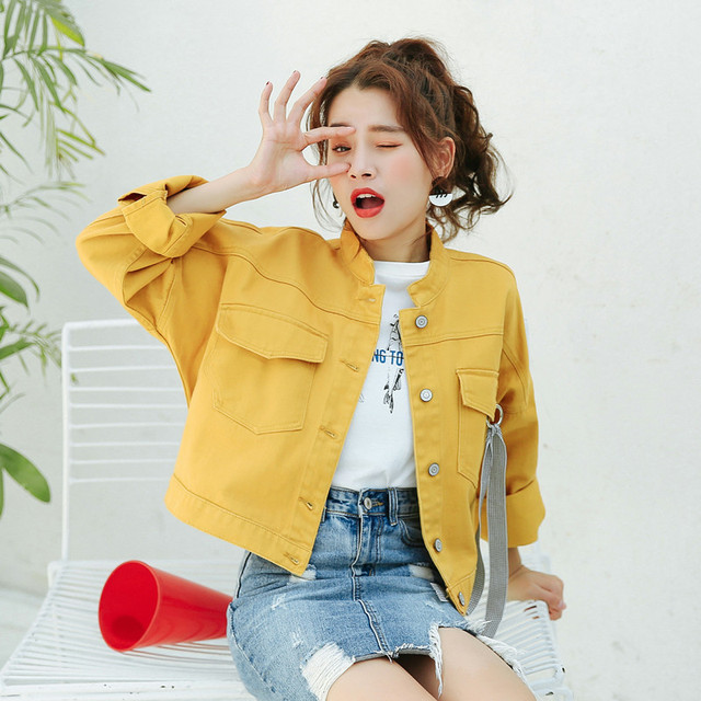 c83b0d60056 2018 New Korean Cute Candy Color Women Short Denim Jacket Autumn Long  Sleeve Loose Jean Jackets