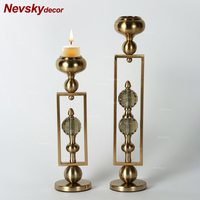Nevsky decor home candles holder decoration gold metal base crystal candelabra candle holder candle light holder