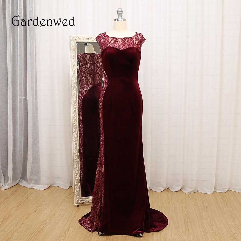Gardénia 2019 nouveauté robe de bal bordeaux longue élégante col rond dentelle robes formelles gala jurk