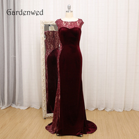 Gardenwed 2019 New Arrival Burgundy Prom Dress Long Elegant O Neck Lace Formal Gown Dresses gala jurk