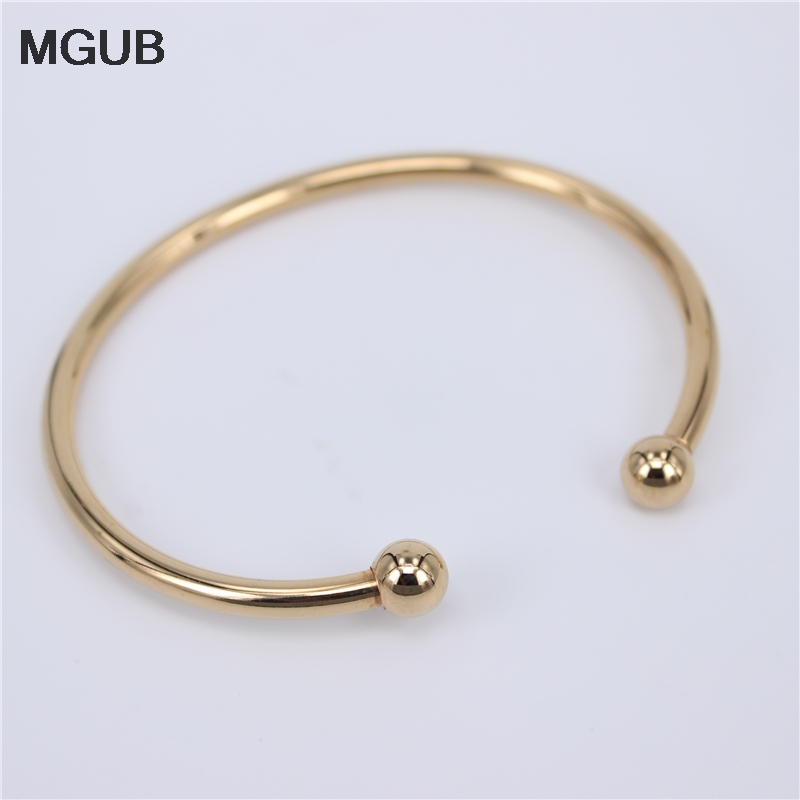 Factory Price Stainless Steel Gold Color Adjustable <font><b>Open</b></font> Cuff Men Women <font><b>Bracelets</b></font> Trendy Simple Bangles Wholesale LH749 image