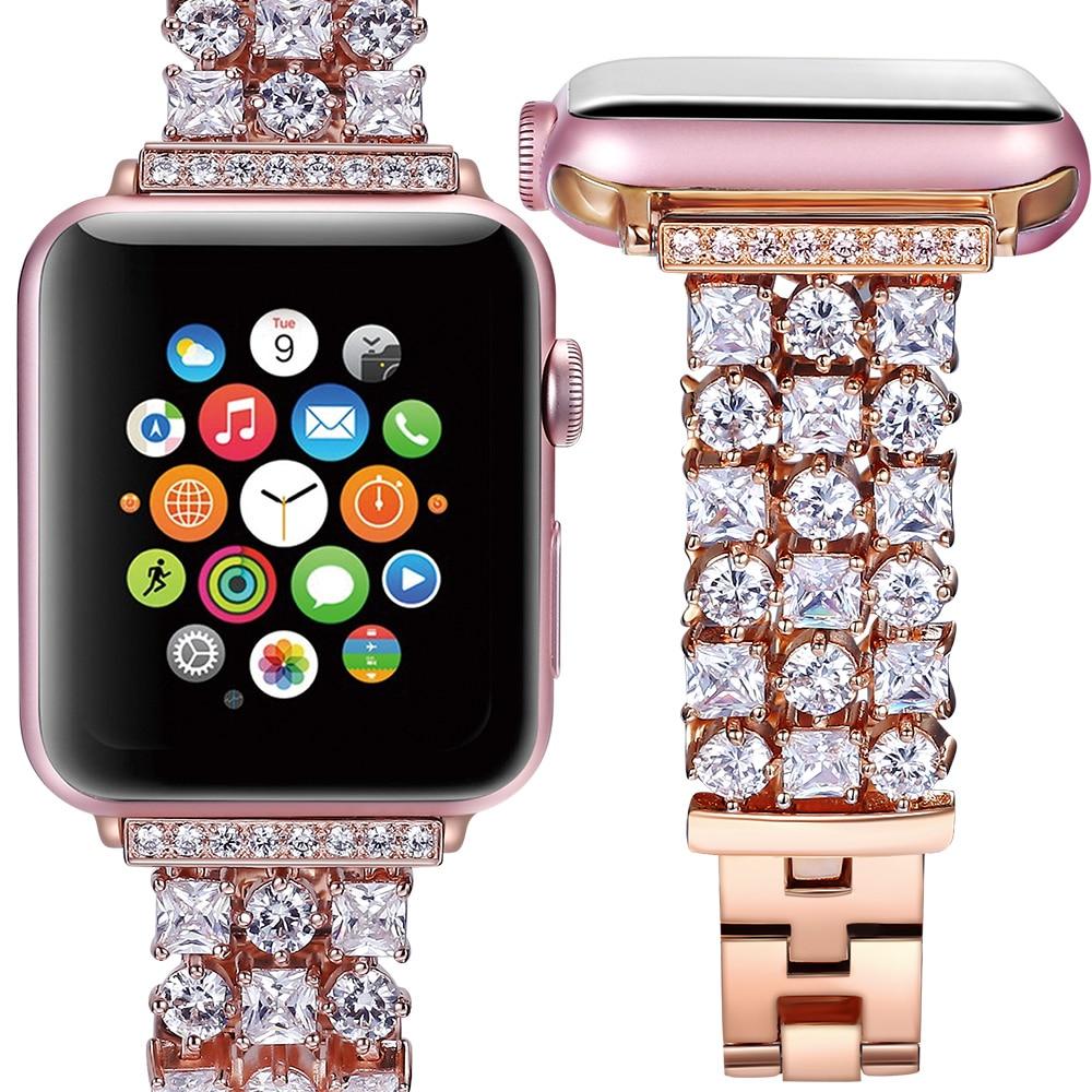 2018 femmes hommes De Luxe Diamants sangle pour iwatch bande pour apple watch 42mm 38mm ceinture série 3 2 1