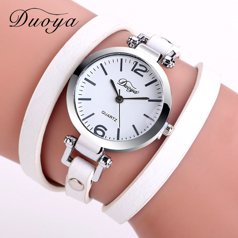 Hot Selling Duoya Brand Fashion Luxury Leather Bracelet Watch Ladies Quartz Watch Casual Women Wrist Watch Relogio Feminino 2017 luxury women rhinestone bangle crystal flower bracelet quartz wrist watch men fashion sale hot style selling