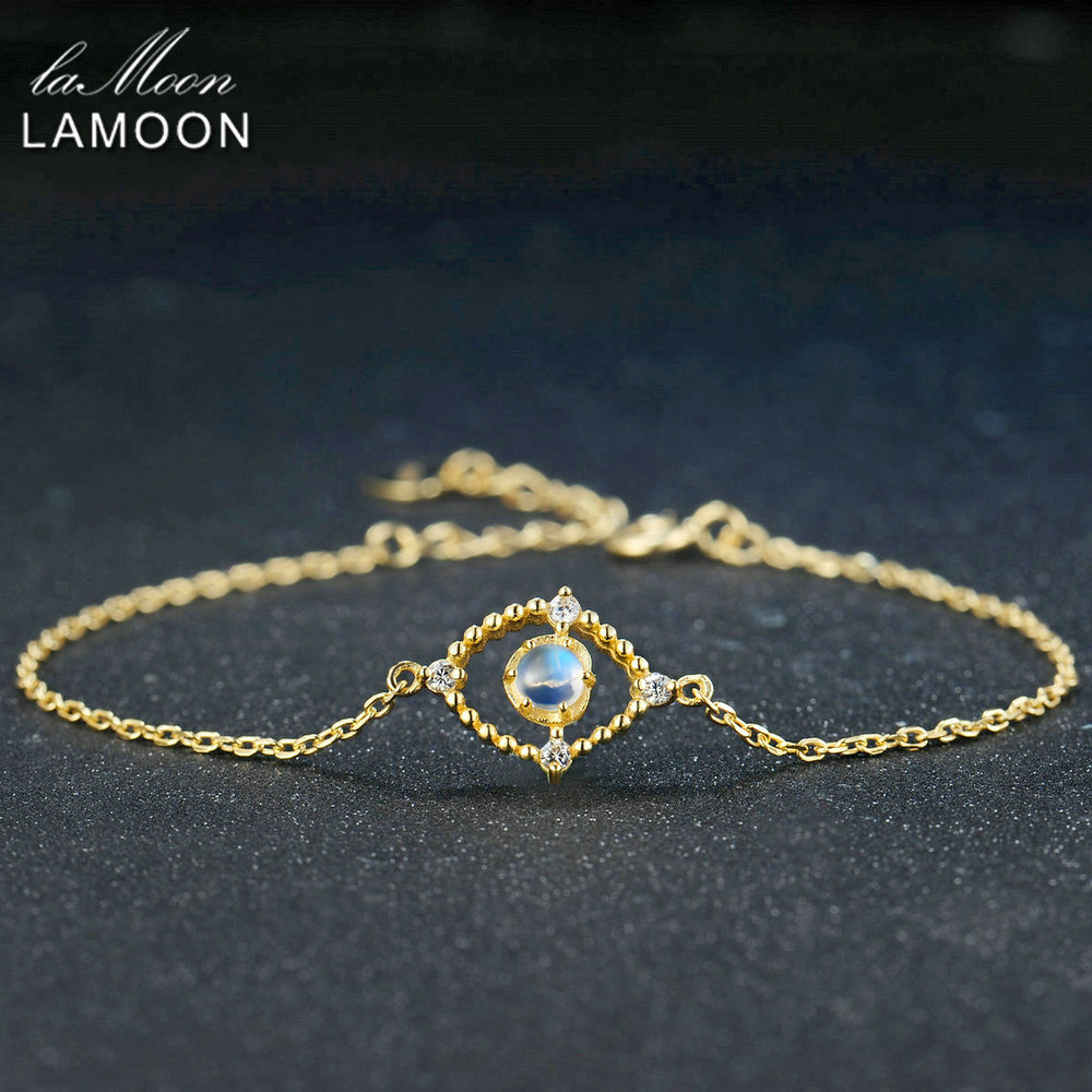 Lamoon 4mm Natural Ligth Blue Moonstone 925 Sterling Silver Jewelry Chain Charm Bracelet S925 Fine Jewelry For Women LMHI031
