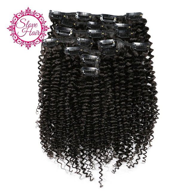 Slove Hair Clip In Human Hair Extension Natural Color 8 Pieces/Set Brazilian Kinky Curly Remy Hair Full Head Sets 120G Ship Free